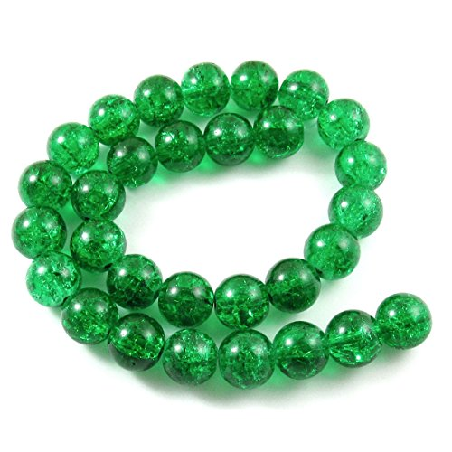 10 Mm Emerald Green - Round Glass Crackle Beads-EMERALD GREEN 10mm (30)