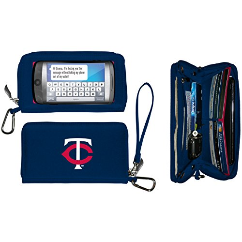 Twin Phone - Charm14 Women's MLB Deluxe Touch Wallet, Black, 7.5