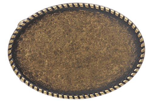 Western Plain Oval Hammered Vintage Belt Buckle, Antique Brass