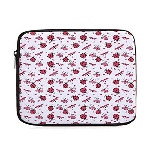 Ladybugs,Domed Back Round Ladybugs with Hearts Flowers Dragonflies Romantic Wings Pattern,One Size (Domed Flower)