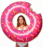 Floatie Kings Strawberry Frosted Donut Pool Float | Giant Premium Inflatable, Summer Pool or Beach Fun, Strengthened PVC Fabric, Includes Patch Kit