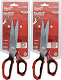 Milwaukee 48-22-4041 Iron Carbide Core Large-Looped Straight Jobsite Scissors w/ Onboard Ruler Markings and Index Finger Groove (2 Pack)
