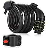 Bike Cable Lock, 6-Feet Bike Lock Cable Coiled Resettable Combination Cable Bike Locks with Mounting Bracket, 6 Feet x 1/2 Inch