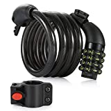 Image of Bike Cable Lock, Amazer 4-Feet Bike Cable Basic Self Coiling Resettable Combination Cable Bike Locks with Mounting Bracket, 4 Feet x 1/2 Inch