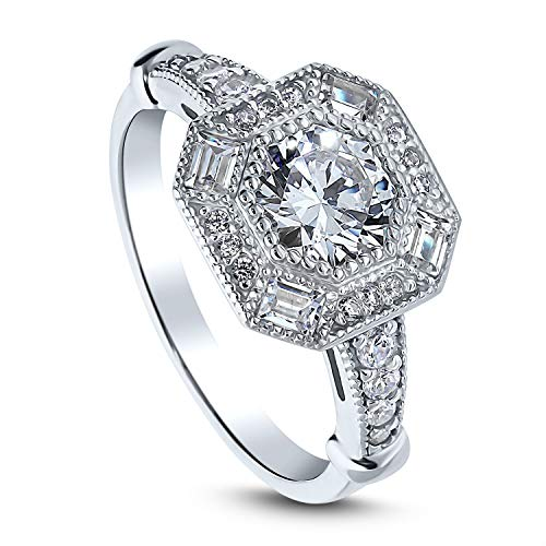 BERRICLE Rhodium Plated Sterling Silver Art Deco Milgrain Halo Engagement Ring Made with Swarovski Zirconia Octagon Sun Cut 1.79 CTW Size - Setting Milgrain