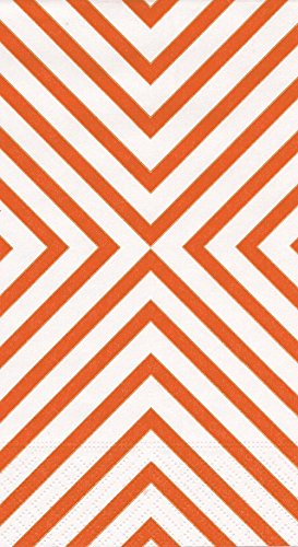 15 Coral (Entertaining with Caspari Chevron Paper Guest Towels, Coral, 15-Pack)