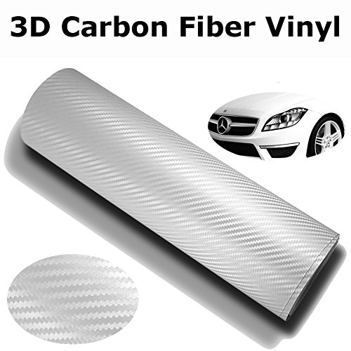 White Film Roll - DIYAH 3D White Carbon Fiber Film Twill Weave Vinyl Sheet Roll Wrap DIY Decals 12