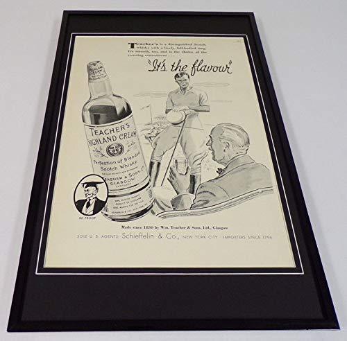 1937 Teacher's Cream Whiskey Framed 11x17 ORIGINAL Vintage Advertising Poster