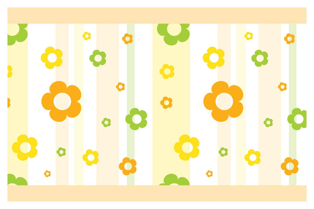 I-love-Wandtattoo b-10151 Kinderzimmer Bordüre Blumen in frühlingsfrischen Farben Mädchenzimmer Wanddeko Wandaufkleber Wandsticker Wandtattoo