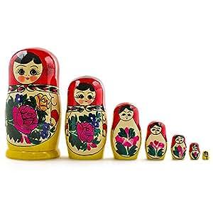 "7 Pieces 7"" (H) Large Semenov Wooden Russian Nesting Dolls Matryoshka Wood Nested Stacking Dolls"