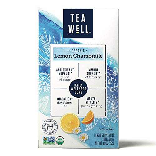 TeaWell Organic Lemon Chamomile Wellness Tea, 16 Count Box (Pack of 6)