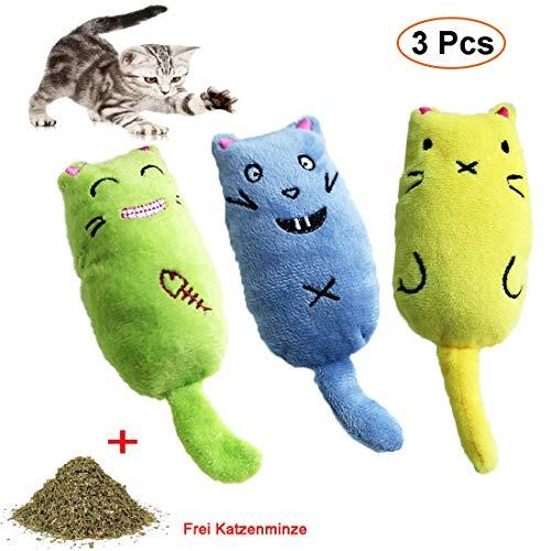 Katzenminze Spielzeug, 3 Stück Haustier Katzenminze Zähne Kauen Spielzeug, Interaktive Katze Plüschtiere Spielzeug zum…