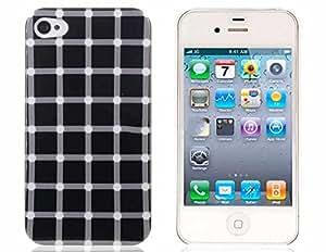 KOOBOS Plastic Case for iPhone 4 / 4S (Blanco y Negro)