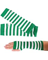 St. Patrick's Day Green Striped Pair of Arm Warmers, One-Size Fits Most