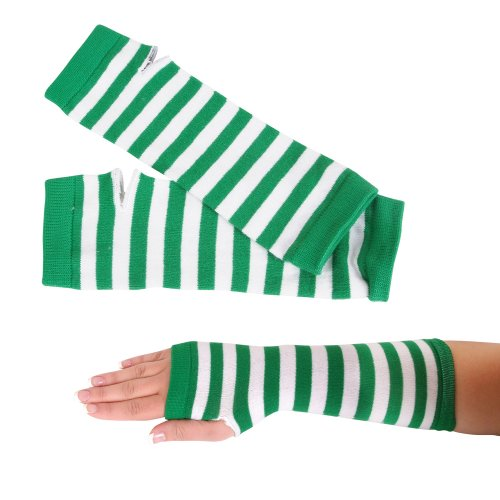 Nine Arm (St. Patrick's Day Green Striped Pair of Arm Warmers, One-Size Fits Most)