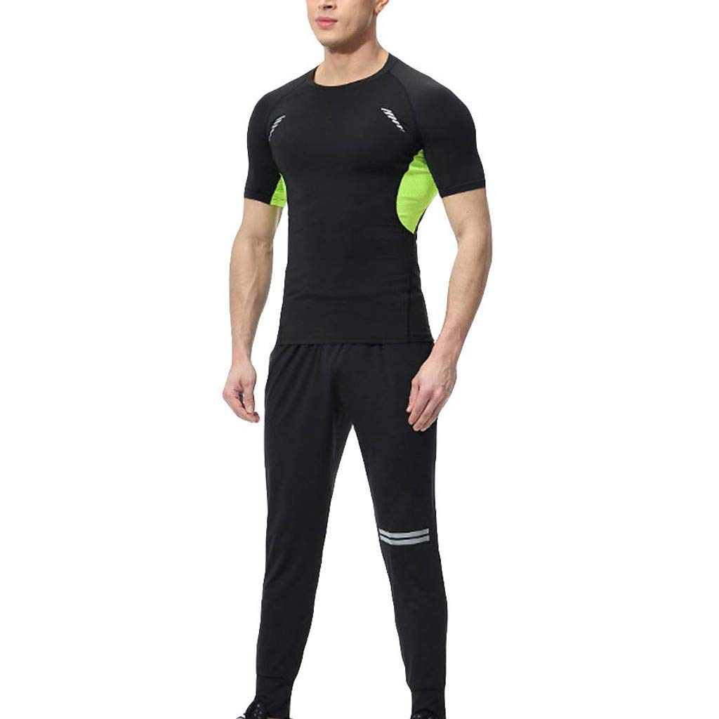 Men's Tracksuit Set Quick Dry Compression Tops T-Shirt and Long Pants Men Sports Running Athletic Tight Suit (L, Green)