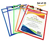 Dry Erase Pocket Sleeves - Set of 25 Large 10x14 - Reusable Clear Lightweight Dry Erase Pockets in Assorted Colors - Write and Wipe, Ideal for School or Work