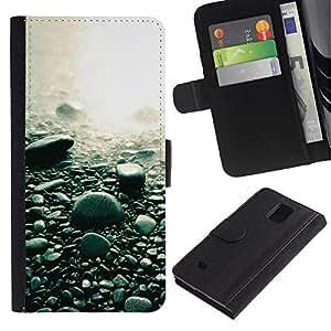 Billetera de Cuero Caso Titular de la tarjeta Carcasa Funda para Samsung Galaxy Note 4 SM-N910 / Beach Black Rocks Water Pebbles Nature / STRONG