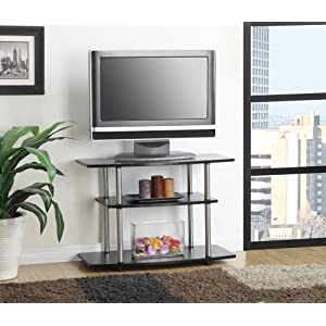 Convenience Concepts Designs2Go 3-Tier TV Stand for Flat Panel Television Up to 32-Inch or 80-Pound, Black