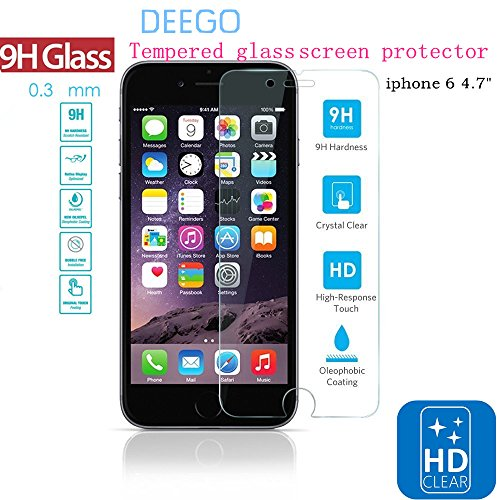 Deego Tempered Glass Screen Protector for iPhone 6 (4.7-Inch) - Clear