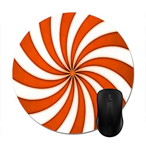 Candy Cane Stripe Mouse - Mousepad Spiral Orange Candy Cane Stripes Pattern Print Non-Slip Round Mouse Mat