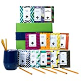Tea Gift Set for Tea Lovers - Includes Double Insulated Tea Cup 12 Organic Handcrafted Teas and All Natural Honey Straws | Tea Gift Sets for Women Men | Tea Gifts Box Presented in Beautiful Gift Box