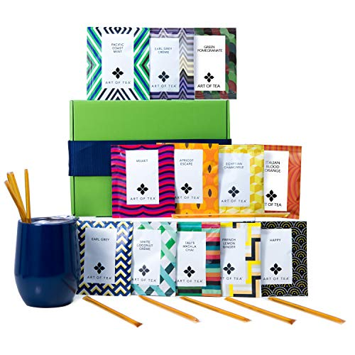 Tea Gift Set for Tea Lovers - Includes Double Insulated Tea Cup 12 Organic Handcrafted Teas and All Natural Honey Straws | Tea Gift Sets for Women Men | Tea - Green Gift Set Tea
