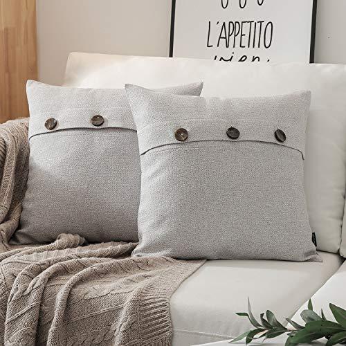 (Phantoscope Set of 2 Triple Button Cotton Blend Throw Pillow Case Cushion Cover Light Grey 18 x 18 inches 45 x 45 cm)