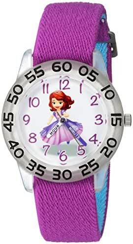 Disney Girl's 'Princess Sofia' Quartz Plastic and Nylon Casual Watch, Color:Purple (Model: WDS000265)