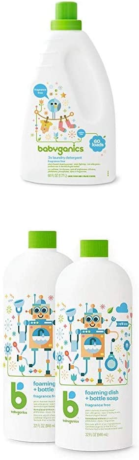 Babyganics Liquid Baby Laundry Detergent with Babyganics Foaming Dish Soap, Fragrance Free