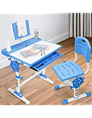 Desk and Chair Set for Kids, Height Adjustable Children's Functional Desk and Chair, Pull-Out Drawer Storage and Touch Led, Ergonomic Children's School Workstation and Home Kids Study Desk (Blue)