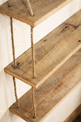 Hanging Reclaimed Wood Rope Shelf - Three Tier Shelf