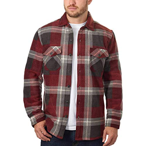 Men's Plaid Super Plush Jacket Shirt (Burgandy Red, Large)