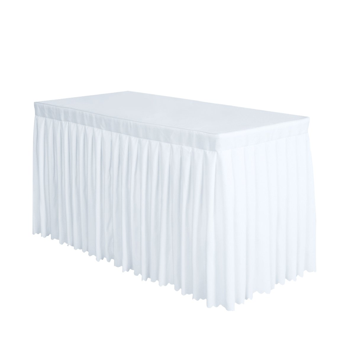 Surmente Tablecloth 14 ft Polyester Table Skirt for Weddings, Banquets, or Restaurants(White,2 Pack) ... ...