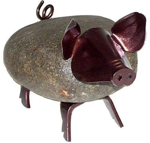 Pig Stone - Francis Metal Work Stone Iron Sculpture Pig Medium