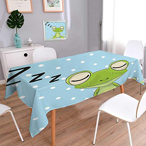 (Jiahonghome Polyester Cloth Fabric Cover Sleeping Prince Frog in A Cap Polka Dots Background Cute Animal World Kids Heavy Weight Cotton Linen Fabric)