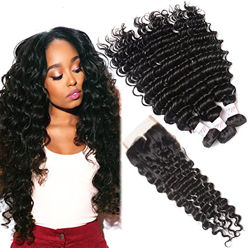 3 Bundles Brazilian Deep Wave Human Hair With Closure 100% Unprocessed Virgin Hair Extesion Deep Curly Remy Hair With Lace Closure Middle Part Natural Color (20 22 24+18 Lace Closure)