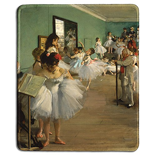dealzEpic - Art Mousepad - Natural Rubber Mouse Pad with Famous Fine Art Painting of The Dance Class by Edgar Degas - Stitched Edges - 9.5x7.9 (Dance Naturals Art)