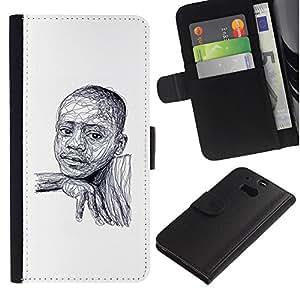 iBinBang / Flip Funda de Cuero Case Cover - Afroamericanos bosquejo blanco - HTC One M8