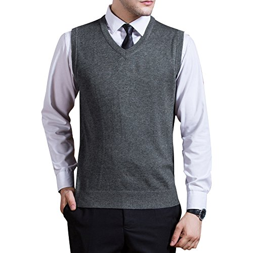 Zicac Men's V-neck Solid Knitwear Sweater Vest Sleeveless Knitting Shirt (L, Light Gray)