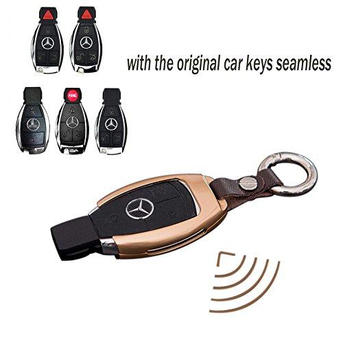 Luxury Premium Aerospace Aluminum Genuine Leather Benz Car Key Case