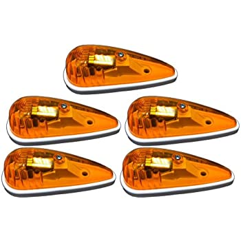 5 Pack of Amber Truck / RV Cab Marker Lights - Teardrop Shape