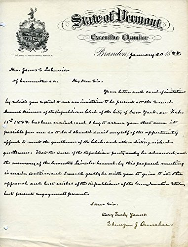 Governor Ebenezer Ormsbee Autograph Letter Signed 01/30/1888