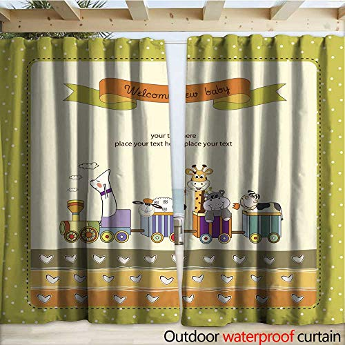 Announcement Train (warmfamily Outdoor Blackout Curtain New Baby Announcement Card with Animal s Train Drapery W108 x L108)