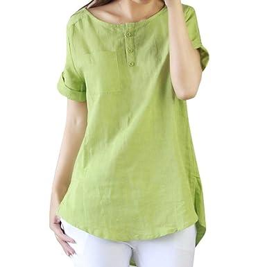 29dad282a572 2018 Women Summer Tops Casual Short Sleeve Blouse Loose T Shirt Cotton Linen  (Green