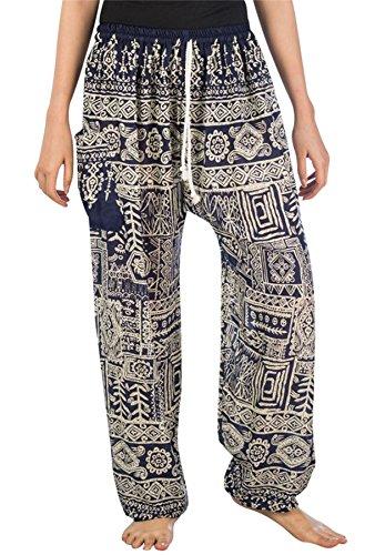 da Donna Lofbaz Scuro Funky Unica Pants Floral Blu Harem Coulisse Funky Pantaloni Pavone Taglia FFEwaHBq