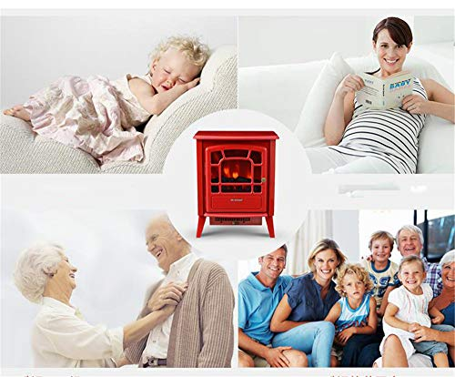 YXIUER 2000W Portable Electric Fireplace 54cm Tall Heater Settings and and Logs,Red