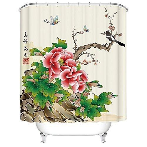 Flower Bird Freehand Brushwork Bathroom Adornment Shower ...