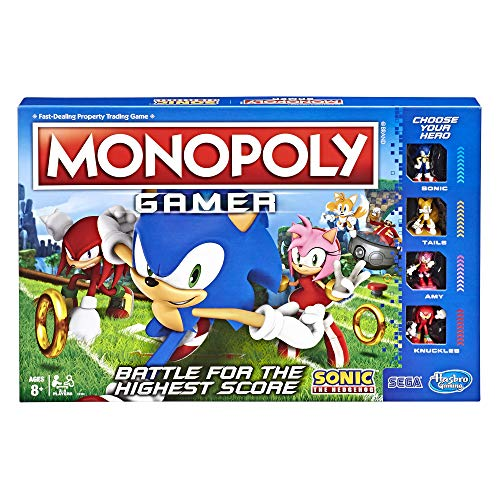 Monopoly Gamer Sonic The Hedgehog Edition Board Game for Kids Ages 8 & Up; Sonic Video Gamer Themed Board Game (The Best Sonic Game)
