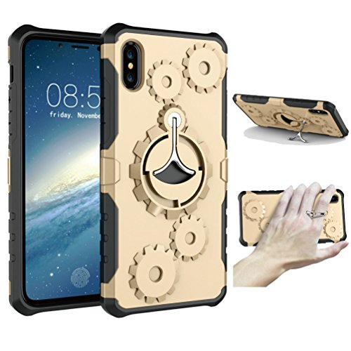 iPhone X Heavy Duty Case, iPhone 10 Case Built-in Kickstand Ring Holder, [Military Grade Drop Tested] Full body Protection Shock Absorb Bumper Corner Case for iPhone X Supports Wireless Charging(Gold)